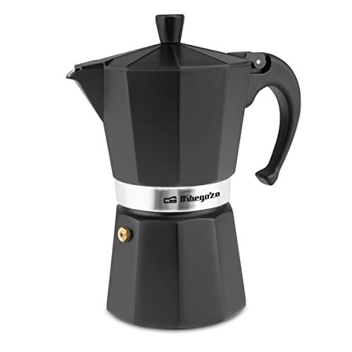Orbegozo KFN 610 - Cafetera italiana de aluminio, 6 tazas de capacidad, mango ergonómico, válvula de seguridad, filtro desmontable