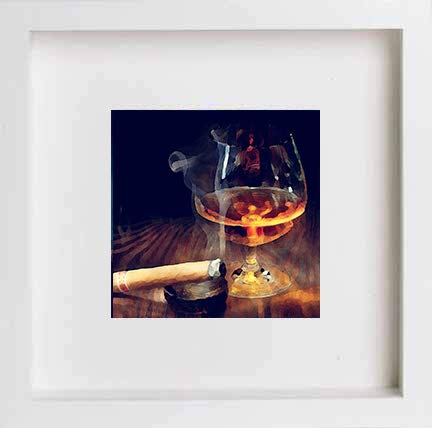 L Lumartos Muur Kunst Fijne Mout Whiskey Hedendaagse aquarel Print 293, Wit, One Size