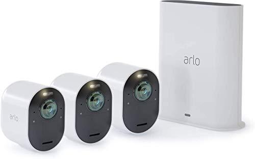 Arlo Ultra VMS5340 Sistema di Videosorveglianza Wi-Fi con 3 Telecamere di Sicurezza 4K, Audio 2 vie, Luce, Bluetooth, Visione 180° Diurna/Notturna,Interno/Esterno,Compatibile con Alexa e Google Wi-Fi