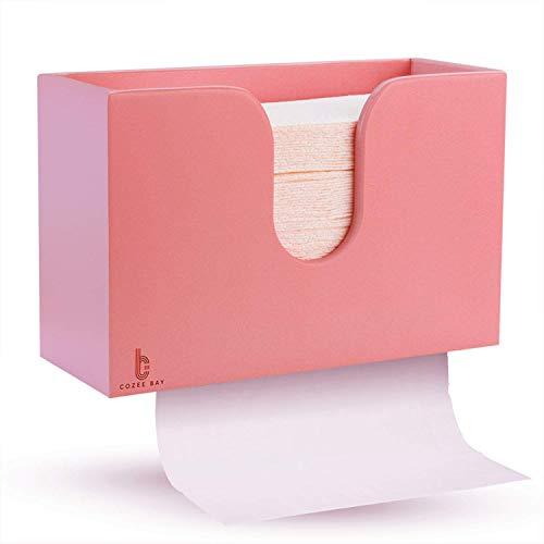 Bambus-Papierhandtuchspender, Papierhandtuchhalter für Küche, Bad, WC, Zuhause und Gewerbe, Wandhalter oder Arbeitsplatte für Multifold, C-Falz, Z-Falz, Trifold Handtücher (Rose Pink)