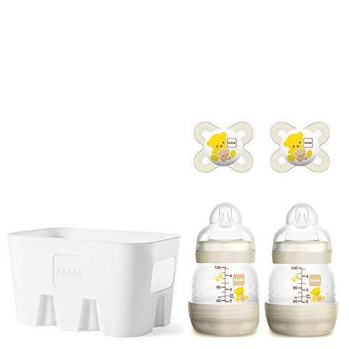 MAM Easy Start Anti-Colic Combi-Set S, Babyflaschen-Set mit 2 Flaschen gegen Koliken (2 x 130 ml), 2 x MAM Start Schnuller (0-2 Monate) & Flaschenkorb, Babyausstattung ab der Geburt, Bär