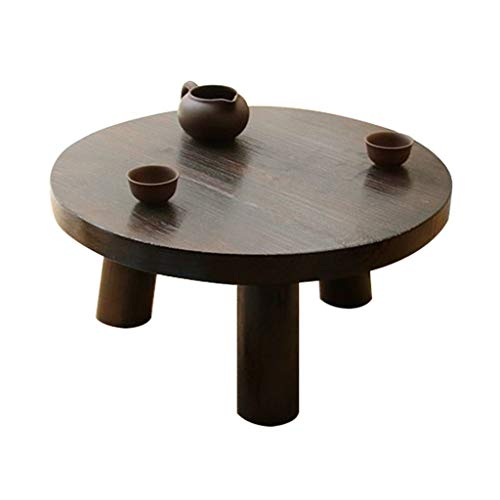 Tables Basse De Salon De Baie Vitrée Brun De Sol Basse en Bois Massif D'ordinateur De Lit Tatami Simple Basse Ronde Basses (Color : Brown, Size : 50 * 22cm)