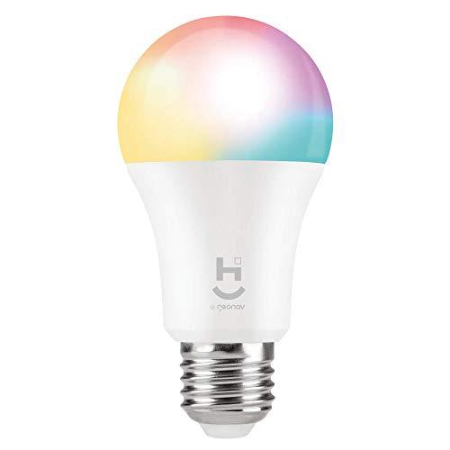 HI by Geonav Lâmpada Inteligente RGB+W, Branco Quente (Amarelo), LED 10W, Wi-Fi, E27, Controle no Aplicativo, 800 Lumens, Bivolt, Compatível com Alexa