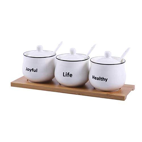 MZXUN Botella Condimento de cerámica, cerámica Creativa Aceite doméstico Sal Puede condimento Caja del condimento Salsa de Botella Juego de Cocina