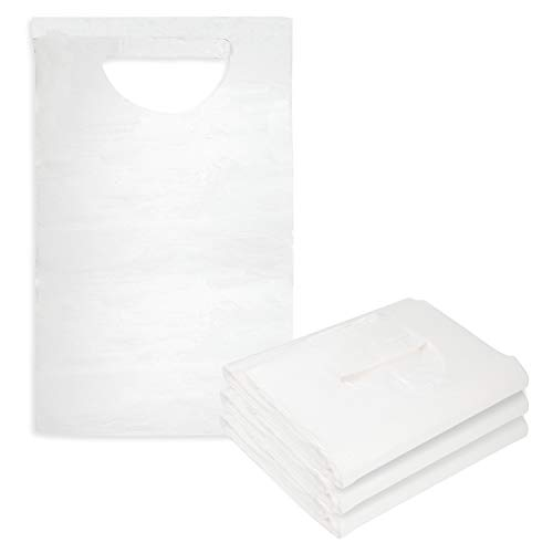 Tie Back Disposable Adult Bibs 100 Pack -Absorbent Tissue Front Water Resistant