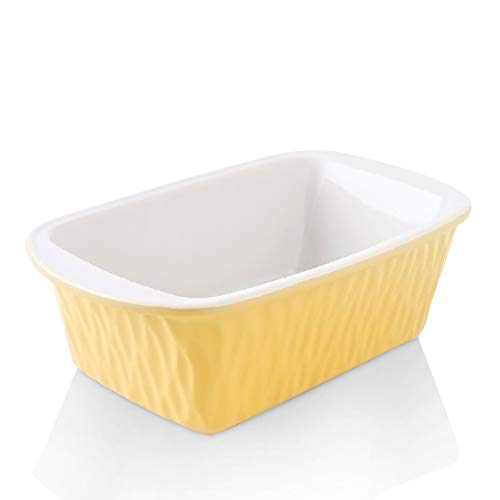 KOOV Ceramic Loaf Pan for Baking Bread, 9 x 5 inch Bread Pan, Rectangular Bread Loaf Pan, Ceramic Bakeware for Cooking, Home Kitchen, Bread Baking Pan Texture Series (Yellow)