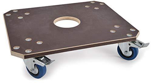 Profi-Rollbrett mit 450 kg Tragkraft | Hochwertige Schwerlast-Transporthilfe | 60x50x15cm Transportroller mit 2x Feststellbremse | Antirutsch-Rollwagen mit 21mm Siebdruckplatte | Dolly MADE IN GERMANY