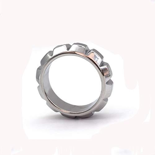 HZS Männer Metall Metallring Verzögerungs-Ring-Verschluss Fein Ring Edelstahl Alternativer Spaß Massage Jeans T-Shirt (Size : M/41mm)
