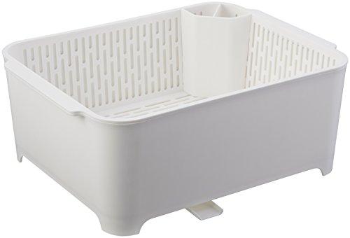 山崎実業 水切りセット ホワイト 約W37XD28XH14.5cm タワー 洗い桶 水切りラック 漬け置きできる 3589