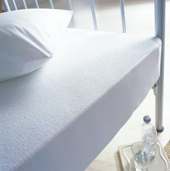 SleepyNights Terry Towelling Waterproof Mattress Protector Topper Double : Non Noisy (Crinkle Free). 100% Cotton Pile Top.