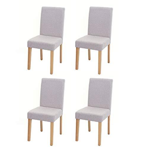 Mendler Set 4X sedie Littau Tessuto per Sala da Pranzo 43x56x90cm Avorio Beige Piedi Chiari