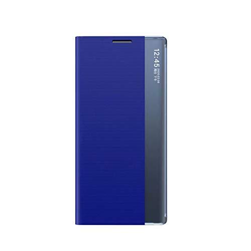 coque Funda para iPhone 12pro max-6.7, funda de teléfono inteligente con ventana lateral, a prueba de golpes, TPU estilo libro ultra delgado para iPhone 12pro max-6.7-azul