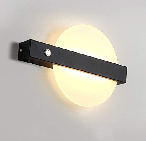 LED wandlamp modern leeslicht wandlamp met schakelaar binnen wandverlichting ultradunne ring acryl plaat deco design wandlamp metaal gang lamp voor woonkamer slaapkamer 7W warm wit licht