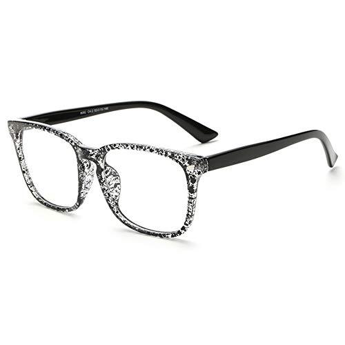 Twinkleyes Retro Nerdbrille Runde Brille Fensterglas Ohne Stärke Hornbrille Groß Damen Herren Brillenetui (Schwarz weiß)