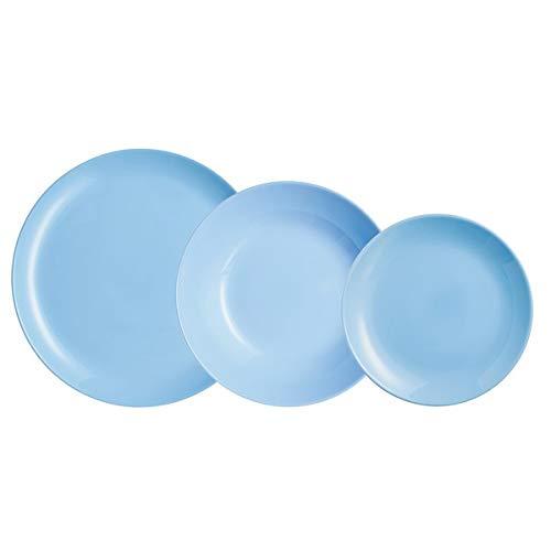 Vajilla Luminarc Carine Azul Vidrio (18 pcs)   Vajilla Original   Vajilla para casa   Decora tu hogar