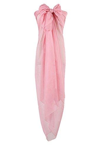 PB-SOAR XXL Damen Einfarbig Unifarben Sarong Pareo Strandtuch Wickelrock Wickeltuch, weich und leicht (Hell Rosa)