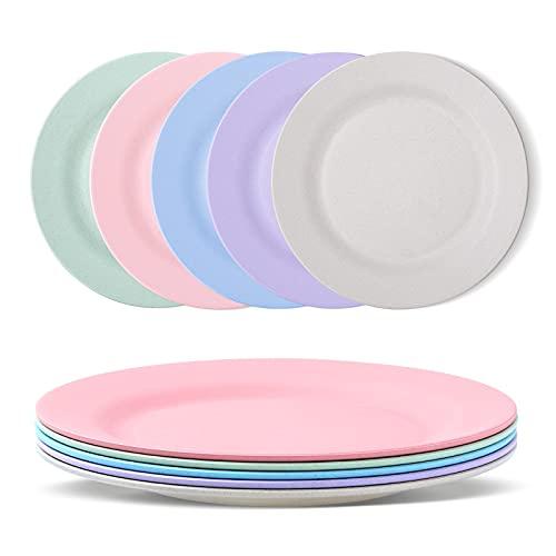 Canruover Juego de 5 platos llanos reutilizables e irrompibles, aptos para lavavajillas y microondas, perfectos para cenas, saludables para niños y adultos, ligeros, sin BPA