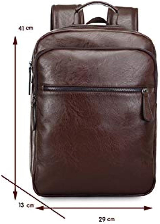 Leisure Travel Backpack Men's Bag Men's Shoulder Bag Leather Men's Bag European American Style,A