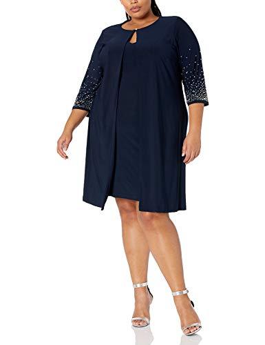 Alex Evenings Women's Plus Size Midi Scoop Neck Shift Dress with Jacket, Navy Beaded, 20W