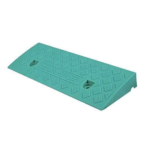 Baiying Wheelchair Ramp Threshold Heavy Vehicle Ladder Wheelchair Uphill Auxiliary Function Non-Slip Splicable Plastic Portable Roadside Slope , 4 Sizes (Color : Green, Size : 48X17X5CM)