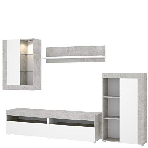 HABITMOBEL Mueble Modular salón Moderno,Blanco y Gris Cemento, Medidas: 265 cm (Ancho) x 180 cm (Alto) x 42 cm (Fondo)