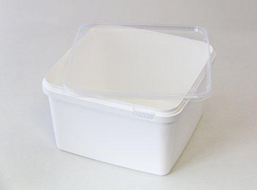 BraPlast Dose 3,0 Liter 18,5 x 18,5 x 11,5 cm - weiß mit transparentem Deckel/Kunststoff Stapelbox