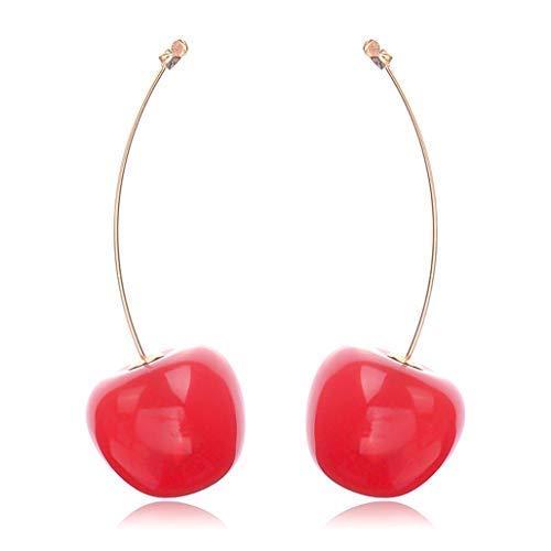 Geyuanhuanbao Speziell Damen Mode Süß Simulation Rote Kirsche Ohrhänger Kreativ Boho Stil Ohrstecker Mädchen Schmuck - Rd