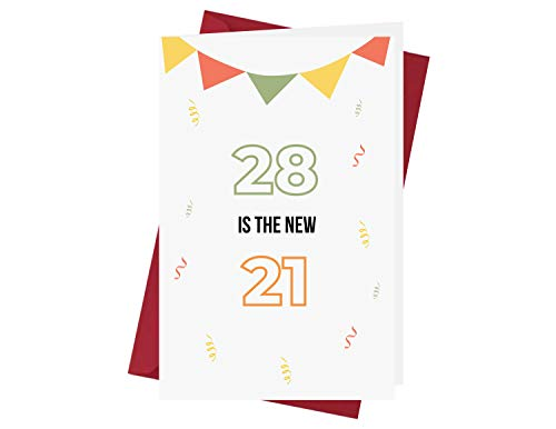 Funny 28th Birthday Card – Hilarious Funny 28 Years Old Anniversary Card – Happy 28th Birthday Card – Hilarious 28th Birthday Card – with A Red Envelope