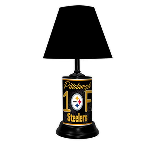TAGZ SPORTS UNLIMITED Pittsburgh Football Desk/Table Lamp with Black Shade