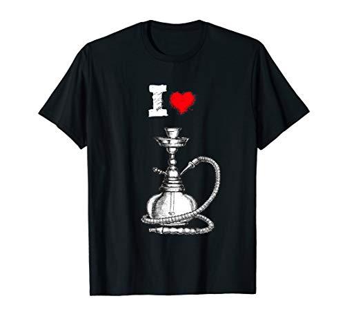 I love Shisha mit Pfeife Herz für Hookah Liebhaber T-Shirt