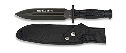 Albainox 32287 Cuchillo Supervivencia ALB. Midway Black. 18 Herramienta para Caza, Pesca, Camping, Outdoor, Supervivencia y Bushcraft + Portabotellas de regalo