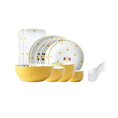 Xu Yuan Jia-Shop Dinner Plates 28-Piece Dinnerware Sets Household Kitchen Ceramics Dinnerware and Serveware Creative Hand Painted Bee Dinnerware Set, Service for 6 Dessert ​Salad Plates