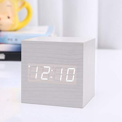 Reloj despertador digital, Madera de luz LED Mini moderna Cubo despertador del escritorio del LED con la Muestra Fecha y hora Temperatura, USB / con pilas de control por voz para los niños,Brown,B