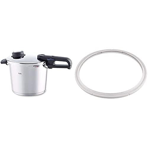Fissler Vitavit Premium Olla a presión, 22 cm, Para todo tipo de cocinas + FSSFIS9203 Comfort/Premium/Design o Vitaquick Junta de Repuesto para ollas a presión Vitavit, 22 cm, Silicona, Blanco