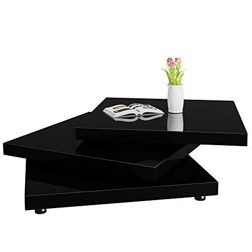 Deuba Table Basse de Salon Noir Moderne carré 60x60cm laquée Brillante rotative à 360° Charge Max. 20 kg Design innovant Table intérieur
