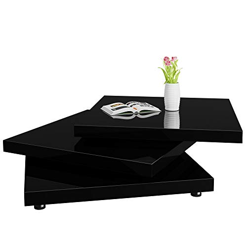 Deuba Mesa de Centro Moderna y Negra mesita lacada Brillante 60 x 60 cm bandejas giratorias 360° Comedor salón Oficina