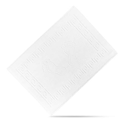 TROCKENPANDA Badvorleger 50x70 cm - 100% Baumwolle - Rutschfester Duschvorleger - Badematte für Dusche, Bad und WC - Premium Badteppich in Weiß
