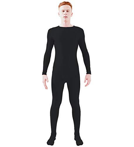 Ensnovo Adult Spandex One Piece Unitard Full Body Suit Costume Black, L