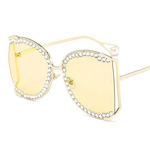 AMFG Gafas De Sol De Diamante Hechas A Mano Con Marco De Gran Tamaño, UV400, Gafas De Fotografía De Calle (Color : F, Size : M)