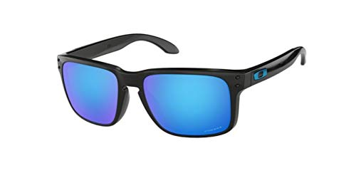 Oakley Holbrook, OO9102 (F5) Polished Black/Prizm Sapphire 55mm, Sunglasses Bundle with original case, and accessories (5 items)