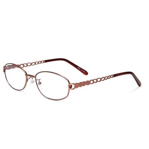 MIDI (ミディ) 老眼鏡 ブルーライトカット UVカット ユニークデザインテンプル メタルフレーム オーバル レディース カラー:マットシャンパン (M-107,C1,+1.50)
