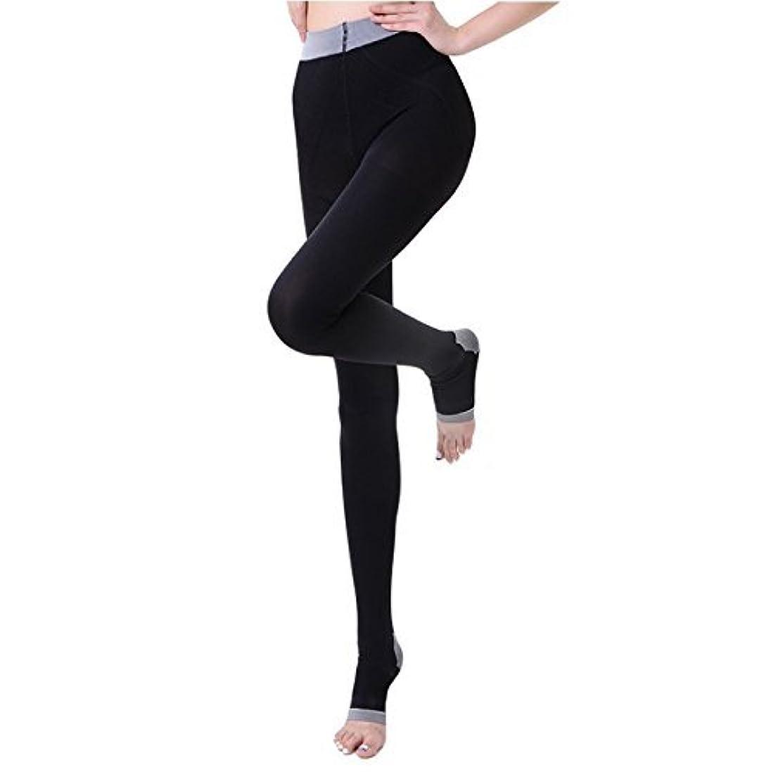 送る気まぐれな組NANA むくみ?足の疲れ解消  着圧ストッキング リンパケア 加圧式 冷え取り オープントゥ 寝ながら美脚ケア レディース 楽やせ 脚やせ 黒