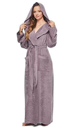 Arus Women's Princess Robe Ankle Long Hooded Silky Light Turkish Cotton Bathrobe Plum Small