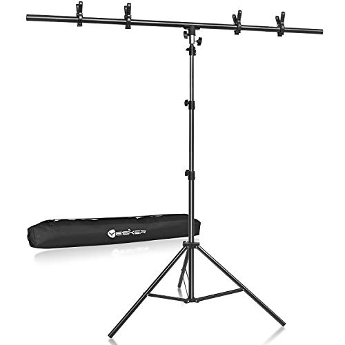 Yesker T- Shape Background Backdrop Support Stand Kit 8.5ftx5ft Adjustable Portable Photo Backdrop Stand with 4 Spring Clamps for Video Studio Photography