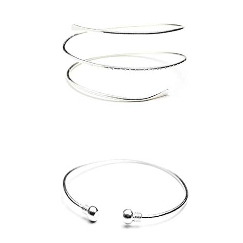 HUNO Womens Minimalist Metal Punk Spiral Coil Upper Arm Cuff Open Arm Bracelet Armlet Adjustable Hammered Wrap Armband Bangle -2Pcs Silver