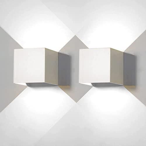 Applique da Parete 12W, Lampada da Parete Esterno LED, Angolo del Fascio Regolabile IP65 Impermeabile, Lampade Muro Cubo Alluminio Up Down, Design Moderno Facile da Installare (2pz 6500K - Bianco)
