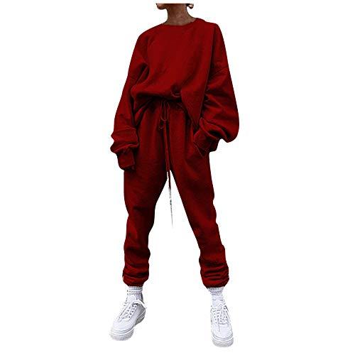 Lazzboy Sportanzug Damen Traingsanzug Jogginganzug Frauen Freizeitanzug Lange Sportswear 2 Stück Bekleidungsset Sport Einfarbig Freizeit Loose Sweater Athletic Langarm Anzug ( Wein,XL )