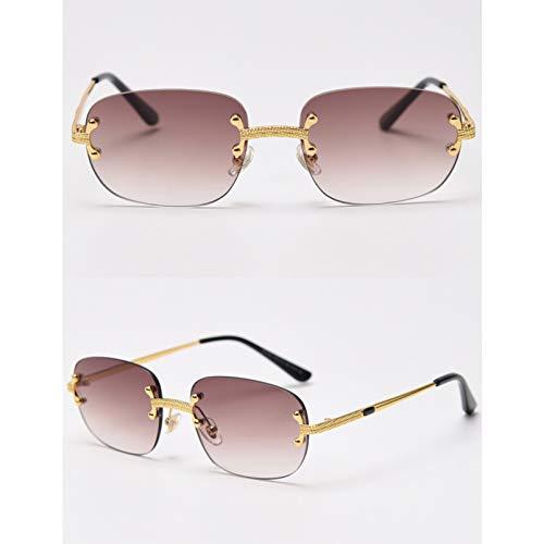 SXRAI Gafas de Sol sin Marco Azules Espejo Mujeres Uv400 Marco Cuadrado Gafas de Sol Masculinas Sin Montura Hombres Verde,C3