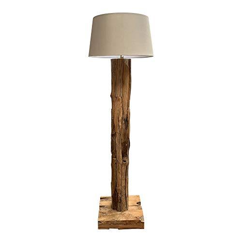 dasmöbelwerk Teak Lampe massiv Stehlampe mit Lampenschirm höhenverstellbar H167-179 cm ROUND (Lampenschirm Hellgrau)