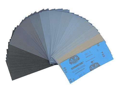 SCHLEIFKÖNIG | 45 St Schleifpapier Sortiment | Made in Germany | Körnung von P80 - P3000 im SET | Wasserfest Nass & Trocken | Qualität von Starcke Matador | Holz, Stein, Lack, Metall, Glas
